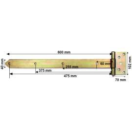 Horganyzott keresztpánt - 600 mm